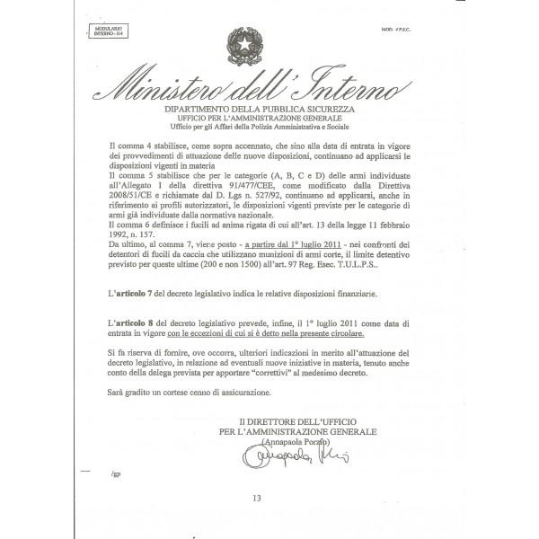 Circolare ministero interno sui caricatori g b verrina shop for Ministero interno p iva